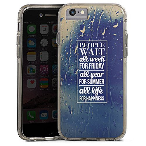Apple iPhone 6s Plus Bumper Hülle Bumper Case Glitzer Hülle Happiness Sayings Phrases Bumper Case transparent grau