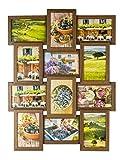 levandeo Bilderrahmen Collage B x H: 58x45cm 12 Fotos 10x15 Nussbaum MDF Holz fertig montiert Glas