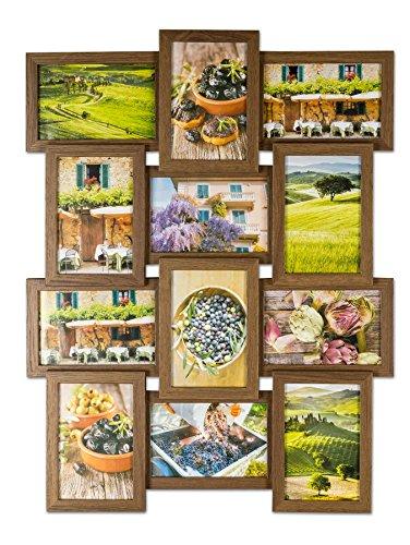 levandeo Bilderrahmen Collage B x H: 58x45cm 12 Fotos 10x15 Nussbaum MDF Holz fertig montiert Glas -