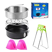Pressure Cooker Accessories Set Fits 5,6,8Qt Pressure Cooker 5 Pcs with Steamer Basket, Egg Steamer Rack, Non-Stick Springform Pan, Steaming Stand, 1 Pair of Silicone Cooking Pot Mitts