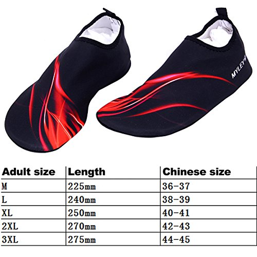 Sasairy Unisex Aqua Schuhe Anti-Rutsch Badeschuhe Wassersport Strandschuhe für Damen/Herren Schwarz + Rot(Stil 2)