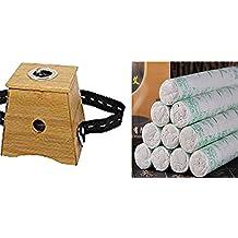 U y we New Moxa Rollo Quemador Caja único soporte para moxibustión + 30piezas Moxa Rollo