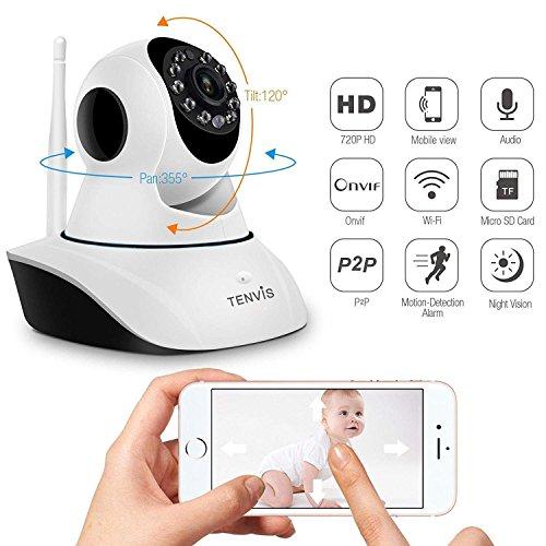 Tenvis t8810 telecamera di sorveglianza hd 720p ip wlan - motorizzata ptz - rilevamento del movimento e avviso del telefono, visione notturna, audio, onvif, p2p plug & play - guida e app in italiano