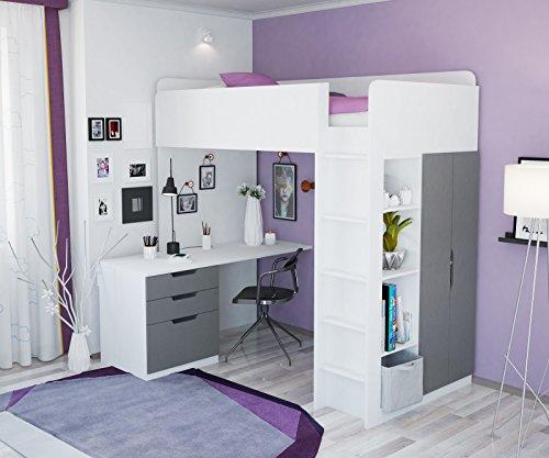 Polini Kids Kinder Etagenbett Hochbett mit Kleiderschrank Schreibtisch, 1447.55 - Bett, Jugend-schlafzimmer-set