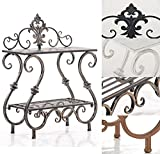 CLP Handmade Plant Stand Table AURICA, made of iron, 2-tier, size 53 x 22 cm, with nice details, choose from up to 4 colours bronze
