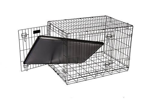 RAC Dog Puppy Cage Folding 2 Door Crate with Plastic Tray Large 36-inch Black (Large) 3