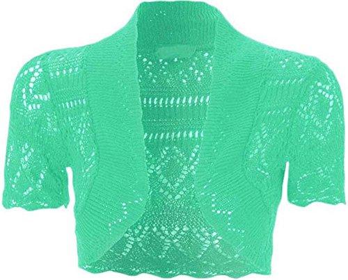 Cardigan ouvert à l'avant à manches courtes en tricot, crochet, boléro court pour femme Menthe