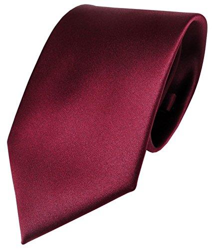 TigerTie Designer Satin Krawatte rot bordeaux uni Polyester