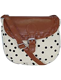 Amit Bags Beautiful Printed Cotton Canvas Polka Dot Sling Bag For Girls And Women ( Cream / Black)
