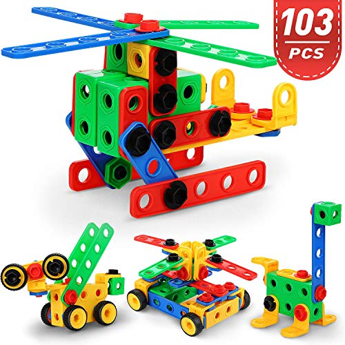 FiveJoy 103 PCS Big Construction Building Toys, Creativity Educational Children's Toys for Toddlers, Firm Building Blocks Set & STEM Learning Gift with Storage Box for Age 3+ Boys & Girls