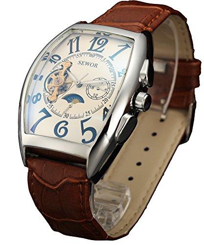 Sewor Luxury Tourbillon Mens Moon Phase Automatic Mechanical Wrist Watch Leather Band Glass Coating Blue (White)