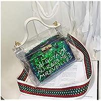 LridSu Bolso Clutch Bolso Transparente Bolso de Compras Transparente de la Lentejuela Bolso de Hombro Colorido de la Muchacha de la Moda Bolso de la Playa del PVC de la Jalea Colorida (Rojo)