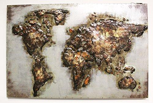 Bild METALLIC Relief 3D/Wanddekoration/Leinwand handgefertigt tauschierung, Löten, Malerei–Motiv Weltkarte (Eisen-weltkarte-wand-kunst)