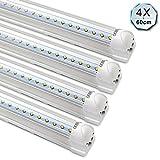 [PRO] [4er Pack zum Sparpreis] OUBO LED Leuchtstoffröhre mit Fassung komplett 60CM LED Tube T8 Röhre Leuchtstofflampe, 10 Watt 1100 Lumen, Kaltweiss 6000K, Transparente Abdeckung