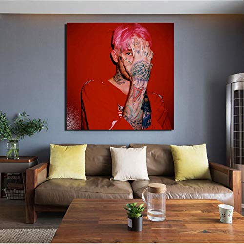 NOVELOVE Wall Art Picture Lil Peep Hand Tattoos Music Singer Poster Print Canvas Painting Without Frame 50 * 50cm Lil Taste