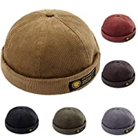 Men Hats Docker Cap Hats Sailor Cap Worker Hat Rolled Cuff Retro Brimless Hat with Adjustable (7019-Khaki)
