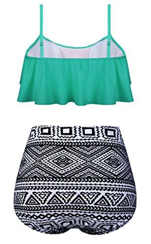 Angerella Damen Niedlich Ruffles Strap Badeanzug Crop Top Flounce Bikini Grün