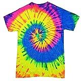 Colortone - Unisex Batik T-Shirt 'Rainbow' / Neon Rainbow, XL