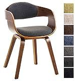 CLP Silla de visita KINGSTON con tapizado de tela. El soporte de la silla es de madera y de cuatro patas. Incluye reposabrazos y respaldo. Respaldo y asiento acolchados. Tela: gris oscuro | Soporte: color nogal