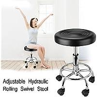 Iglobalbuy Chaise Pivotante Hydraulique, Tabouret Polyvalent Hauteur Réglable 47CM à 56CM pour Salon de Massage/Tatouage/Manucure /Cosmétique /SPA/Beauté/Artiste (Noir)