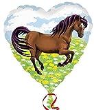 Folienballon Herzballon braunes Pferd auf der Weide, ca. 45 cm Durchmesser