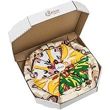 Pizza Socks Box – Mix Italiana Hawaiana Caprichosa, Unos calcetines únicos, originales, fabricados en la UE ideales como regalo! Talla: 36-40 41-46 Sorprende a tus amigos Algodón, no fullprint