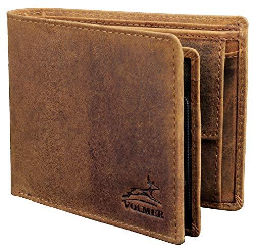 Fa.Volmer ® Stabile braune Herren-Ledergeldbörse aus echtem Büffel-Leder mit RFID-Schutz #VO22 (Camel) -