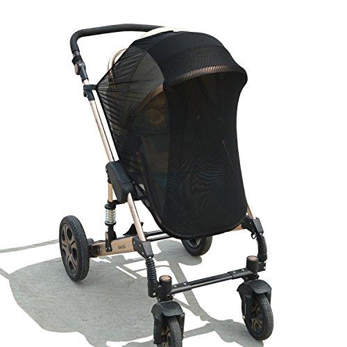 Universal Baby Sonnensegel, Sonnenschutz & Insektenschutz für Kinderwagen / Buggys, UV-Schutz 50+, schwarz