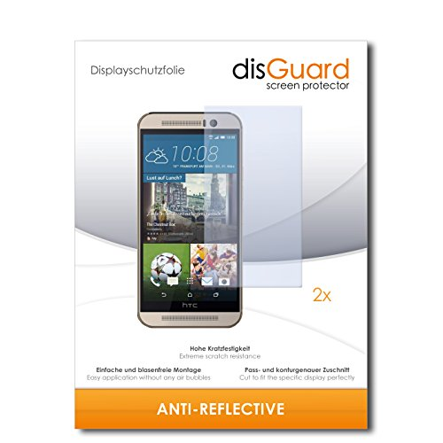 disGuard® Bildschirmschutzfolie [Anti-Reflex] kompatibel mit HTC One M9s [2 Stück] Entspiegelnd, Matt, Antireflektierend, Extrem Kratzfest, Anti-Fingerabdruck - Panzerglas Folie, Schutzfolie