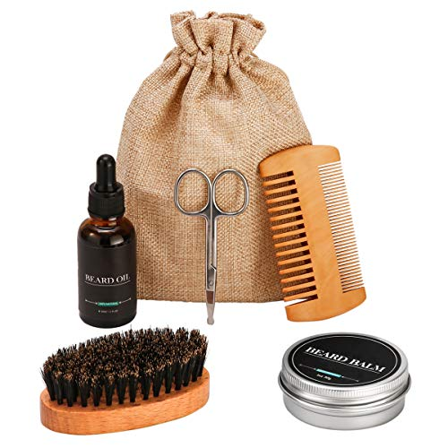 LAOYE 6 Pcs Kit Soin Barbe Homme Coffret Entretien Barbe, Huile à Barbe 30ml + Baume Barbe 30ml + Peigne Barbe + brosse barbe + ciseaux barber + Sac, Kit Entretien Barbe Voyage pour Homme