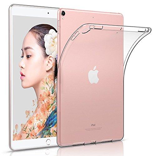 iPad 9.7 2017 Hülle TPU Crystal Transparent Case Cover, HZSSEC Ultra Dünn Soft Silikon Schutzhülle Backcover für Apple iPad 2017 (9,7 Zoll) A1822/ A1823, Transparent Outdoor-tastatur