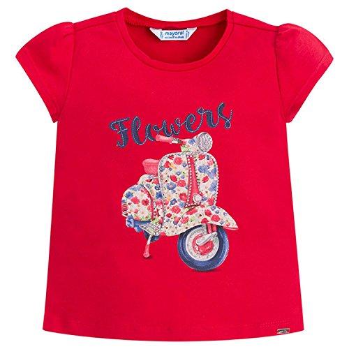 Mayoral Mädchen T-Shirt Kurzarmshirt Roller und Blumen. rot - 3026. Größe 98 (Blume Roller)