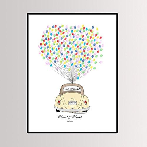 Hochzeit Fingerabdruck Unterschrift Segeltuch Kreativ DIY Luftballon Gästebuch Personalisiert Anpassen Gast Anmelden Käfer Auto Gemälde Babydusche Ehe Party Geburtstag Geschenk Dekoration,40*60Cm