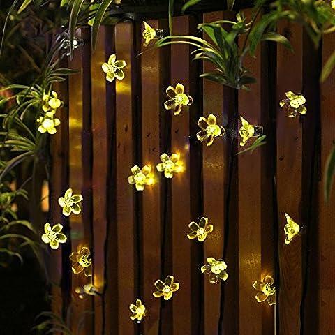 Panpany 50 LED Sternen Solar Lichterkette 6.8m Outdoor Lichter Multi-color Weihnachtskugel Licht für drinnen , Garten, zuhause, Rasen, Party oder Feriendekoration-Warme (Warm Weiß Led Weihnachten Tree)