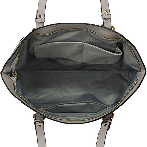 Trend Star woman designer handbag ladies fashion patent tote bag (D - Black / White) F - Grau / Weiß