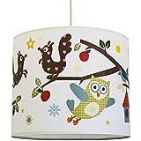 anna wand Lampenschirm FUNNY FOREST – Schirm für Kinder/Baby Lampe mit Eulen, Vögeln und Eichhörnchen in versch. Farben – Sanftes Licht für Tisch-, Steh- & Hängelampe im Kinderzimmer Mädchen & Junge