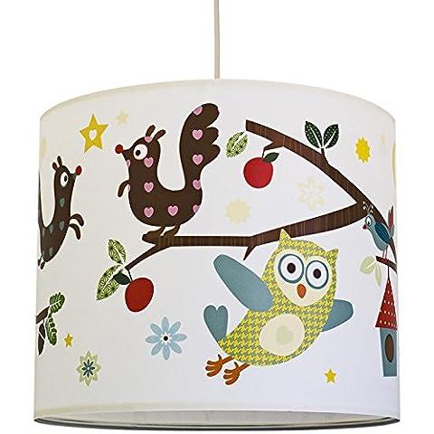 anna wand Lampenschirm FUNNY FOREST – Schirm für Kinder / Baby Lampe mit Eulen, Vögeln und Eichhörnchen in versch. Farben – Sanftes Licht für Tisch-, Steh- & Hängelampe im Kinderzimmer Mädchen & Junge