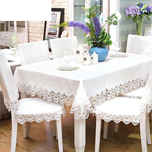 LOVE Stoff-tischwäsche,Kontinentalen Spitze Stoff Solid Color,Kunst Und Weiße Tischdecke,Stuhlhussen Kissen Set-A 83x83cm(33x33inch) - Weiße Tischdecke Quadratische Leinen