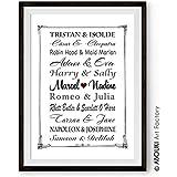 ABOUKI Traumpaar Nr. 11 - Berühmte Paare, personalisierter Kunstdruck mit Wunschnamen - ungerahmt - Fine-Art-Print Poster, Hochzeitsgeschenk, Geschenkidee