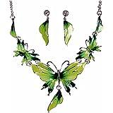 QIYUN.Z chmelz Schmetterling Anhänger Bib Rand Y Hals Lariat Halskette Ohrstecker Set Grün Halskett Halskette