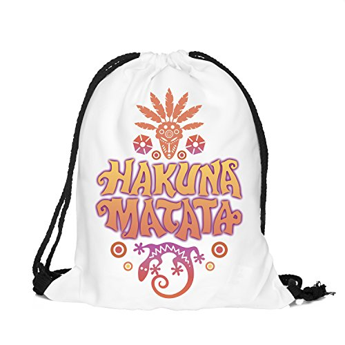 Beutel Hakuna Matata Gecko Animal Tier Federn Indianer Fullprint Allover Jutebeutel Hipster Bag Gymsack Tasche Umhängetasche F...