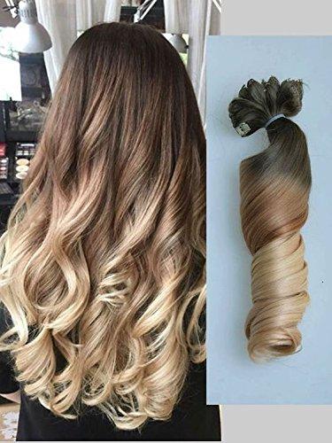22 full head clip in capelli sintetici, piega riccia, colore: ombre a onde, confezione da 6 pezzi, colore: cioccolato e biondo sabbia di devalook