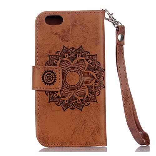 EKINHUI Case Cover Für IPhone 6 Plus & 6s Plus PU Ledertasche, Mandala Blume geprägtes Muster Schutzhülle Folio Flip Stand Brieftasche Tasche mit Lanyard & Halter & Card Cash Slots ( Color : Brown ) Brown