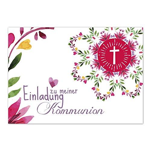 15 x Einladungskarten Kommunion mit Umschlag / Aquarell Bunt mit Herz und Blüten / Kommunionskarten / Einladungen zur Feier