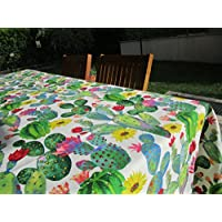 Pago Poco Novita. Collection 2018- 2019. Tablecloth Cotton Drawing Cactus Plastic-Coated Mis.140x 180cm. Made In Italy.