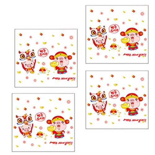 hinese New Year Decals Laternen Frühlingsfest Glas Fenster Dekoration Lunar New Year Fenster Wandtattoos Cartoon Piggy Aufkleber ()