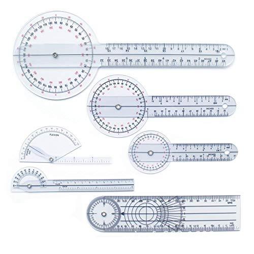 Shoh Goniometer Set, 6 STÜCKE, Einfache Ablesung, Langlebig Multifunktions-Goniometer Kunststoff Winkel Ulnargelenk Messung Finger Medical Lineal, 360-Grad-Bereich -