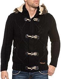 BLZ jeans - Gilet fourré noir capuche amovible