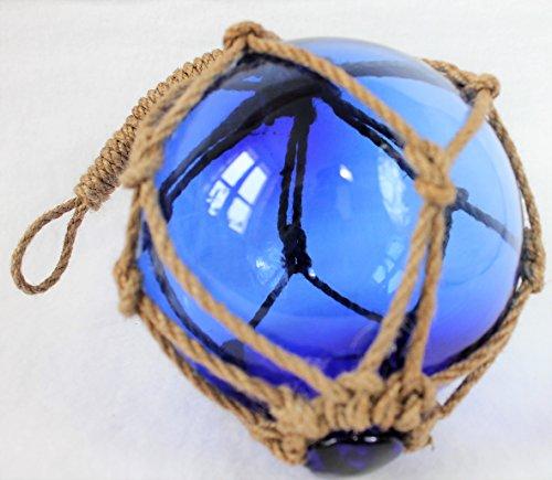 maritime Dekoration Fischerkugel Fischernetz Deko 13cm Ø Blau Glas Hanftampen