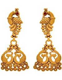 BFC- Traditional And Ethnic One Gram Gold Plated Peacock Designer Gold Earring For Woman And Girls.
